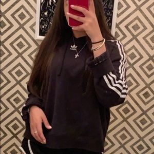adidas black and white cropped hoodie